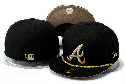 Atlanta Braves Black Fitted Hat YS 0528